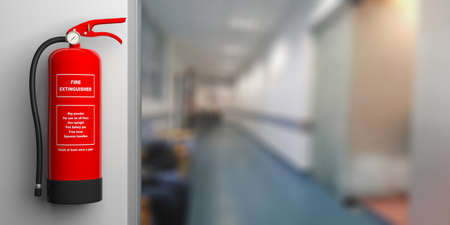 Fire safety, Red fire extinguisher on wall, blur hospital corridor background, text label. 3d illustration Stock Photo