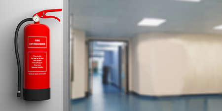 Fire safety, Red fire extinguisher on wall, blur hospital corridor background, text label. 3d illustration Reklamní fotografie