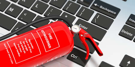 Fire safety, Red fire extinguisher on computer keyboard, with text label,  top view. 3d illustration