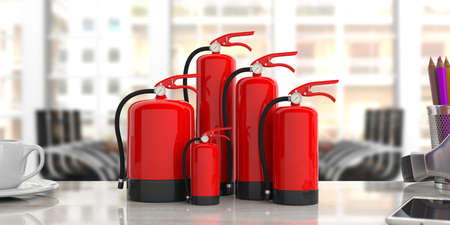 Fire safety, Red fire extinguishers, various sizes, on office desk, blur business background. 3d illustration