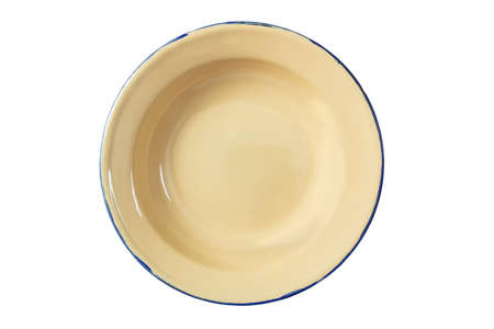 Empty enamel bowl plate with blue line isolated on white background, top view 免版税图像