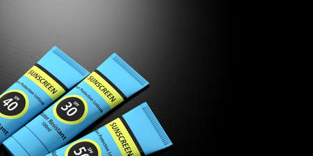 Sun tan protection. Sunscreen lotion tubes on black background, copy space. 3d illustration