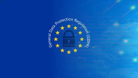 EU GDPR. General Data Protection Regulation text on European Union flag. 3d illustration