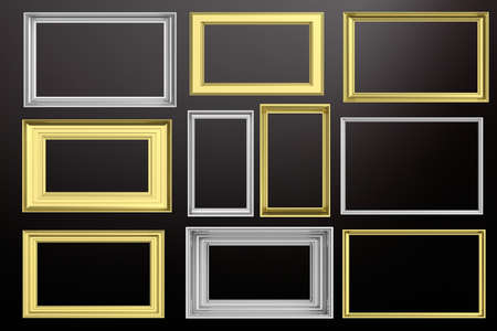 Frames golden and silver isolated on black background with copy space for text, 3d illustration Standard-Bild - 101538151
