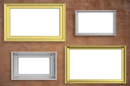 Frames golden and silver isolated on brown stucco wall background with copy space for text, 3d illustration Stock fotó