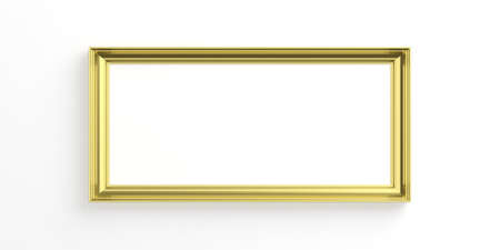 Frame golden isolated on white background with copy space for text, 3d illustration
