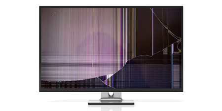 Computer monitor or tv with broken glass isolated on white background. 3d illustration