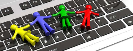 Child disability, autism and technology. Four colorful human figures holding hands laying on a computer keyboard. 3d illustration