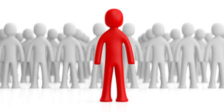 Leader or volunteer concept. Blur crowd of white human figures, one red figure ahead, on white background. 3d illustration