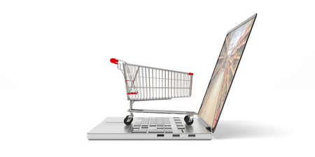 Online shopping. Shopping cart on a computer laptop, isolated on white background. 3d illustration Stock Photo
