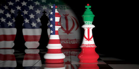 USA and Iran relationship. US America and Iran flags on chess kings on a chess board. 3d illustration 스톡 콘텐츠