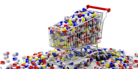 Medicine addiction concept. Shopping cart full of medicine pills on white background. 3d illustration