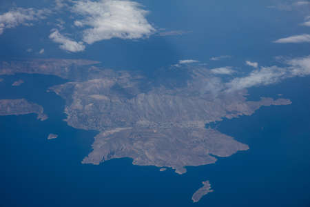 Kalymnos island, Greece. Aerial view out of a plane window. Stock Photo