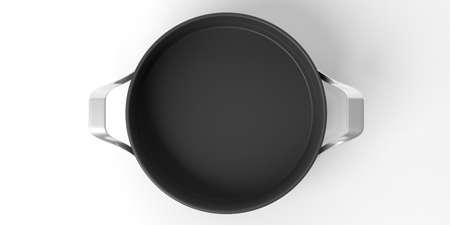 Black empty cooking pot isolated on white background, top view. 3d illustration