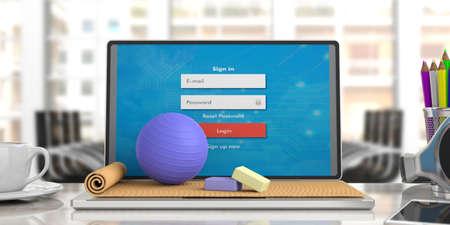 Online-Unterricht. Übungsmatte und Pilatesball auf Computer-Laptop, verwischen Geschäftsbürohintergrund. 3D-Illustration