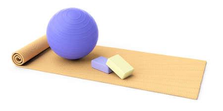 Pilates-Ausrüstung. Übungsmatte, Pilatesball und Steine lokalisiert auf weißem Hintergrund, Ansicht von oben. 3D-Illustration