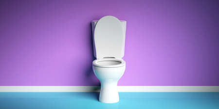White toilet bowl on modern purple and blue background, copy space. 3d illustration