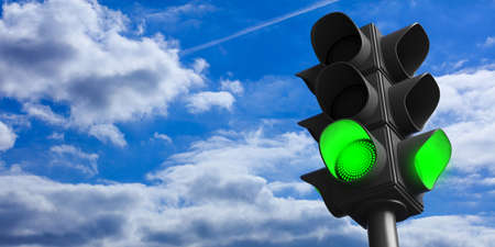 Green light concept.Traffic light, green go signal, on blue sky background, copy space. 3d illustration