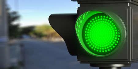 Green led traffic lights on blur street background, copy space. 3d illustration