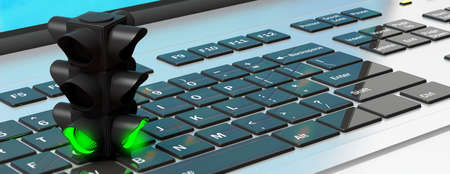 Green light business concept. Traffic light, green go signal, on a computer laptop, banner. 3d illustration