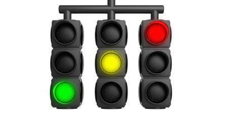 Traffic lights green, yellow, red isolated cut out on white background. 3d illustration Stock Photo