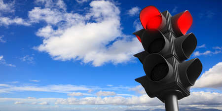 Red light concept. Traffic light, red stop signal, on blue sky background, copy space. 3d illustration