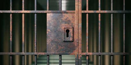 Prison interior. Locked rusty door closeup, dark jail background. 3d illustration Standard-Bild