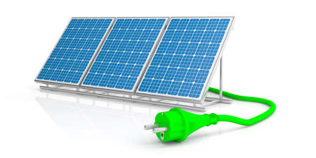 Alternative energy concept. Electric power plug and solar panel isolated on white background. 3d illustration