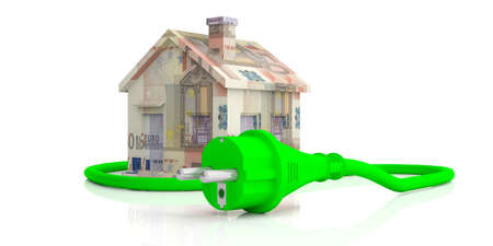 Green energy money savings. Euro banknotes house and green electric power plug isolated on white background. 3d illustration