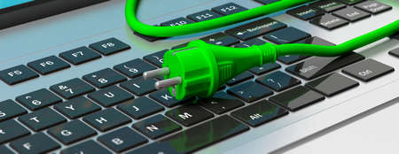 Green electric power plug on computer laptop, banner. 3d illustration