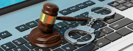 Cyber crime concept. Metal handcuffs and judge gavel on computer keyboard, 3d illustration Фото со стока
