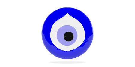 Evil turkish eye amulet, protection from bad luck, top view isolated on white background. 3d illustration Standard-Bild