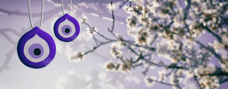 Spring Blooming, evil eye, Turkish tradition. Good luck charms and almond or cherry tree blooming, banner. 3d illustration