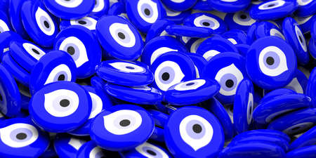 Evil turkish eye amulets in large amount background, protection from bad luck. 3d illustration Imagens