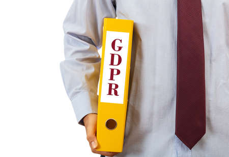 GDPR compliance. Manager holding a binder folder on white background, text GDPR