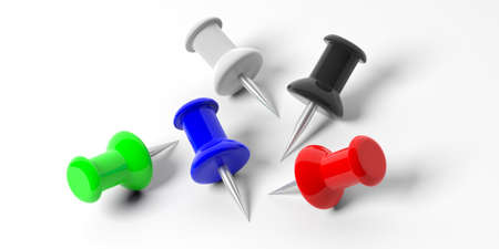 Stationery concept. Push pins in various colors, isolated on white background. 3d illustration.