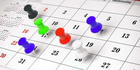 Notion de planification. Punaises colorées, sur un fond de calendrier. illustration 3D.