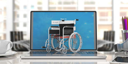 Technology for disabled. Wheelchair empty on computer laptop keyboard, blur office background. 3d illustration Stock Photo