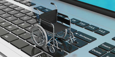 Technology for disabled. Wheelchair empty on computer laptop keyboard. 3d illustration