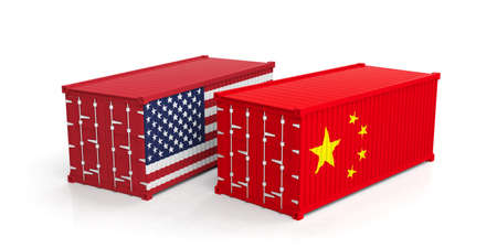 USA and China trade concept. US of America and chinese flags shipping containers isolated on white background. 3d illustration