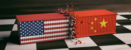 USA and China trade war. US of America and chinese flags crashed containers on chessboard. 3d illustration Stockfoto