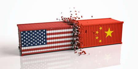Guerre commerciale entre les États-Unis et la Chine. Les États-Unis d'Amérique et les drapeaux chinois ont écrasé des conteneurs isolés sur fond blanc. Illustration 3d