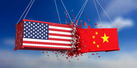 USA and China trade war. US of America and chinese flags crashed containers on blue sky background. 3d illustration Stockfoto