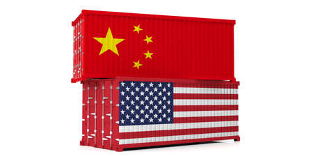 USA and China trade war. US of America and chinese flags cargo containers isolated on white background. 3d illustration Reklamní fotografie