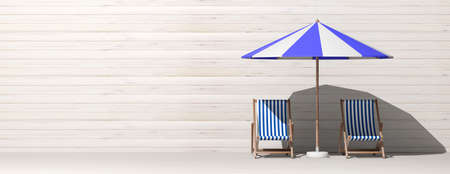 Summer vacation. Beach chairs and umbrella on wooden wall background, banner, copy space. 3d illustration