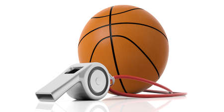 Coach whistle with red string and basketball ball isolated on white background. 3d illustration