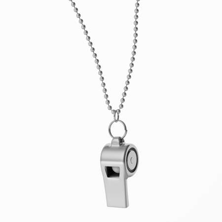 Coach whistle metal with silver chain isolated cutout on white background. 3d illustration
