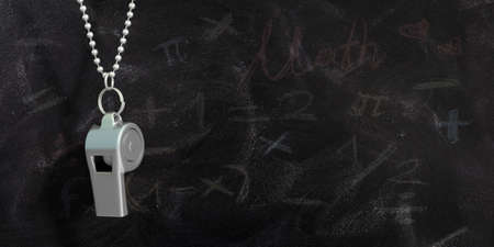 Coach whistle with metal chain, isolated on school blackboard background, copy space. 3d illustration