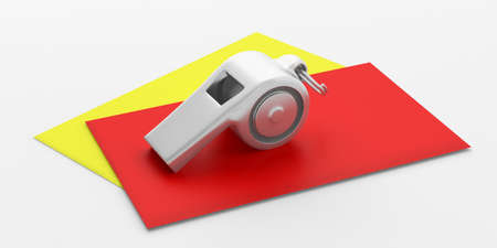 Soccer, football referee. Whistle and red yellow cards isolated on white background. 3d illustration Stock Photo