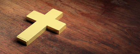 Christianity symbol. Golden cross isolated on wooden background, copy space. 3d illustration